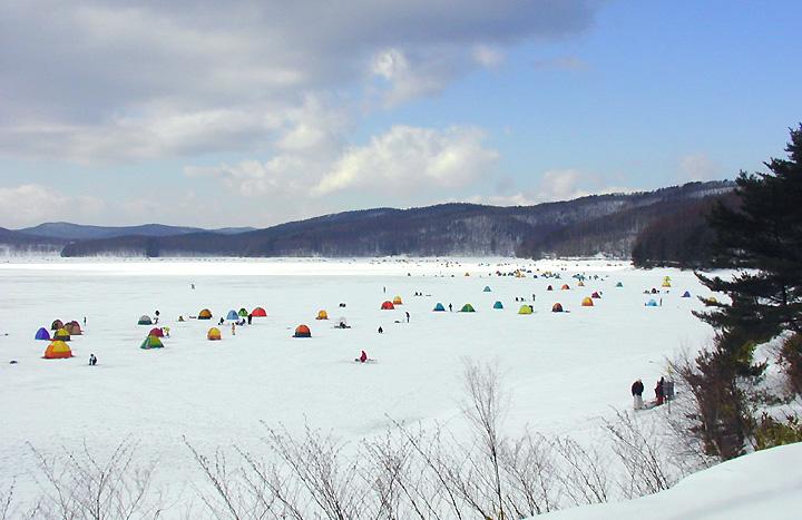 東北 岩手県岩洞湖ワカサギ釣り 氷上わかさぎ釣り場ドーム船